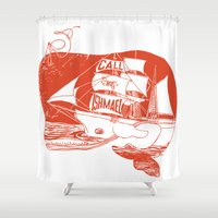 moby dick Shower Curtains featuring Moby Dick by Paul McCreery