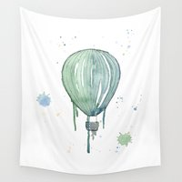 hot air balloon Wall Tapestries featuring Green hot air balloon by Sandra Silén