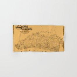 Map of Sausalito 1868 Hand & Bath Towel