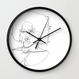 Black Woman abstract Line Art Wall Clock