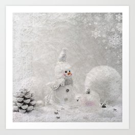 Cute snowman winter season Art Print