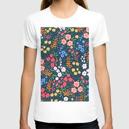 Vintage floral background. Flowers pattern with small colorful flowers on a dark blue background.  T-shirt