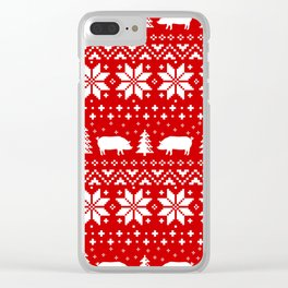 Pig Silhouettes Christmas Sweater Pattern Clear iPhone Case