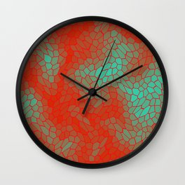 Stained glass texture of snake light blue leather with Iridescent heat spots. Wall Clock