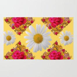 PINK ROSE & WHITE DAISIES YELLOW GARDEN ART Rug