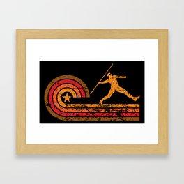 Retro Style Javelin Throw Vintage Track Framed Art Print