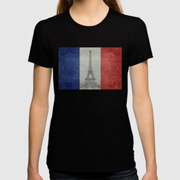 Flag of France with Eiffel Tower T-shirt