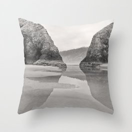 Tidal Pool Cannon Beach Oregon Coast Cave Forest Reflection Rocks Shoreline Nautical Northwest Pacif Throw Pillow