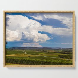 Stormy day in the vineyards of Brda, Slovenia Serving Tray