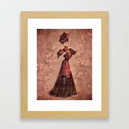 Woman in red Edwardian Era in Fashion Framed Art Print