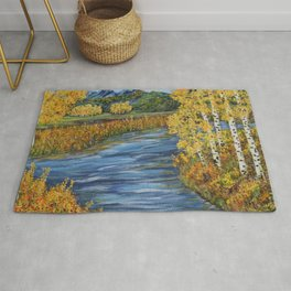 Autumn in the Mountains, Fall Decor, Aspen Birch Tree Painting Rug