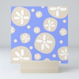 Sand Dollar Blue and Tan Mini Art Print