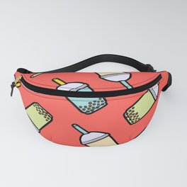 Bubble Tea Pattern in Red Fanny Pack