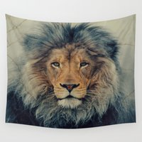 the lion king Wall Tapestries featuring Lion King by Urban Underdogs