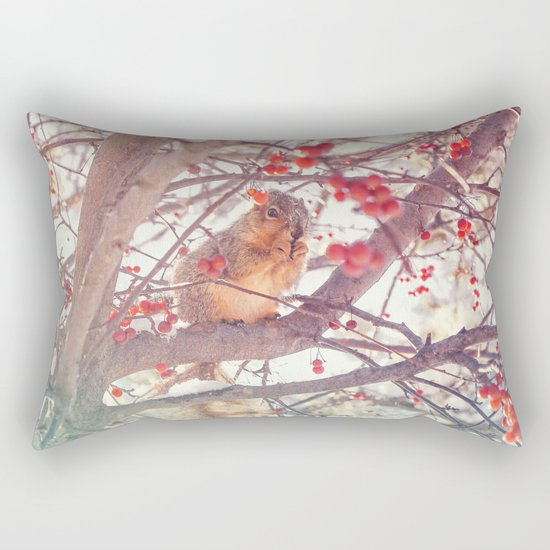 Squirrel Meal on a Cherry Tree Rectangular Pillow