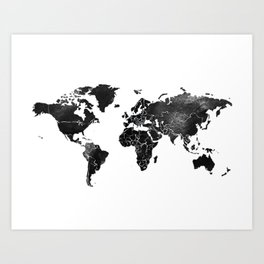 Black and silver world map Art Print
