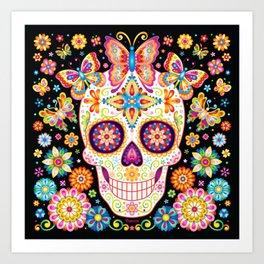 Sugar Skull Art - Sugar Skull with Butterflies and Flowers by Thaneeya McArdle Art Print
