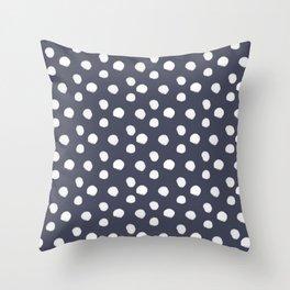Brushy Dots Pattern - Navy Throw Pillow