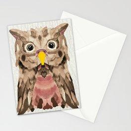Whimsical Mocca Owl Stationery Cards