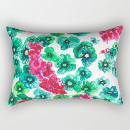 Pink Begonia Green Leaves Rectangular Pillow