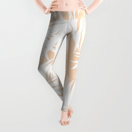 Palm Tree Fronds White on Peach Hawaii Tropical Décor Leggings