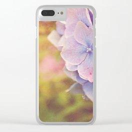 Purple Hydrangea flower. Clear iPhone Case