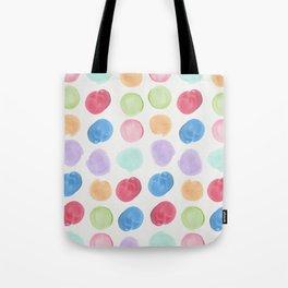 Colorful trendy colors large watercolor polka dots Tote Bag