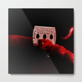 Sharp blade and red chillies Metal Print