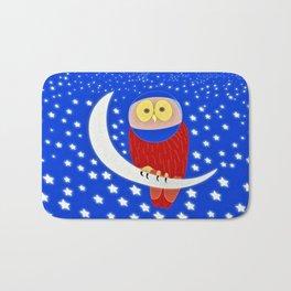 Owl lands on the moon Bath Mat