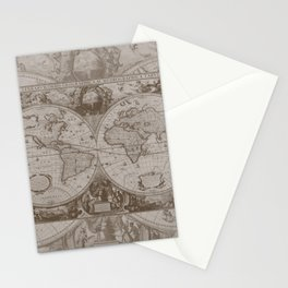 Antique Brown Map Stationery Cards