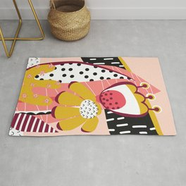 Collage Flowers pink, gold, white, black Rug