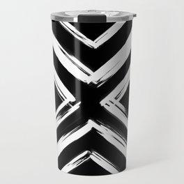 Minimalistic Black and White Paint Brush Triangle Diamond Pattern Travel Mug
