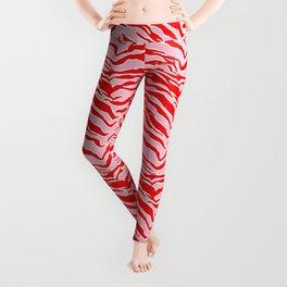 Tiger Print - Red and Pink Leggings
