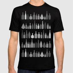 Bottles Black and White on White Mens Fitted Tee MEDIUM Black