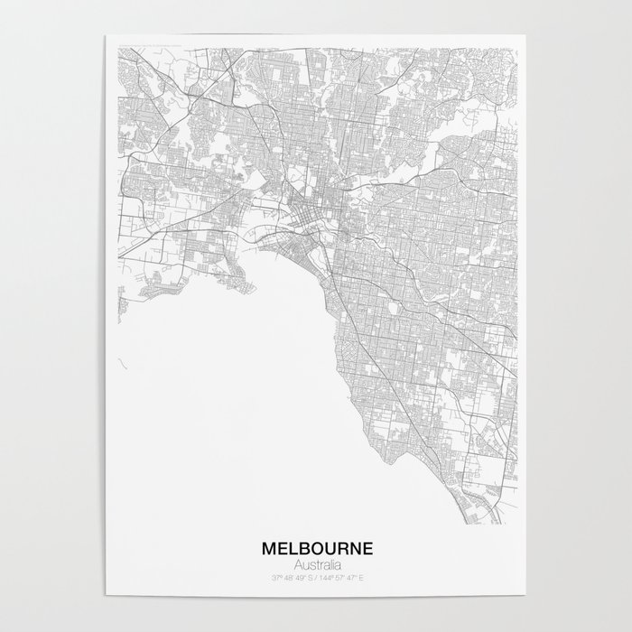 Melbourne, Australia Minimalist Map Poster