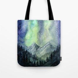 Northern Lights Magic Mountains Tote Bag