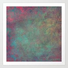 Grunge Garden Canvas Texture: Pink and Teal Baroque Art Print