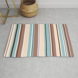 Mixed Striped Design Browns Blue Cream White Rug