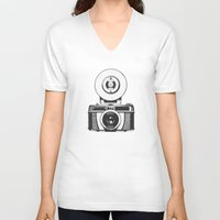 vintage camera V-neck T-shirts featuring Camera by danielrafalski