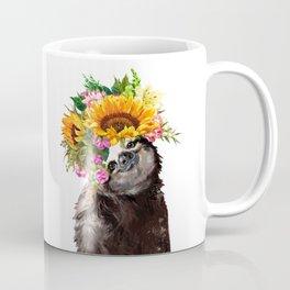 Sloth with Sunflower Crown Coffee Mug