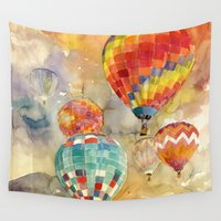 balloons Wall Tapestries featuring Balloons by takmaj