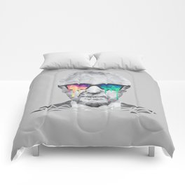 Albert Hofmann - Psychedelic Polygon Low Poly Portrait Comforters