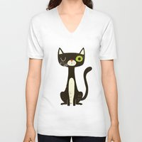 black cat V-neck T-shirts featuring Black Cat by Monster Riot