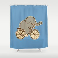 cycle Shower Curtains featuring Elephant Cycle - colour option by Terry Fan