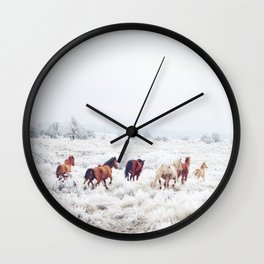 Winter Horses Wall Clock