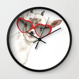 Hipster Goat with Glasses Wall Clock