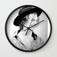 harry Wall Clocks featuring HARRY by Drawpassionn