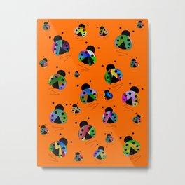 Busy Little Ladybugs Metal Print
