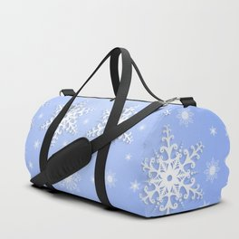 Snowflake frame with background Duffle Bag