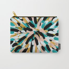 Teal, Pink, and Gold Paint Burst Carry-All Pouch